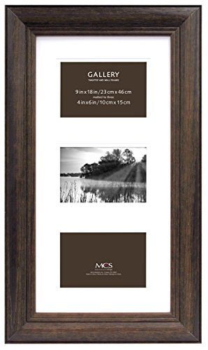 MCS 9x18 Inch Wide Wood Frame with 3-4x6 Inch Mat Openings,