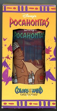 DISNEY'S POCAHONTAS ~ POWHATAN & KOCOUM Drinking Glass Cup Collectable Colors of The Wind -