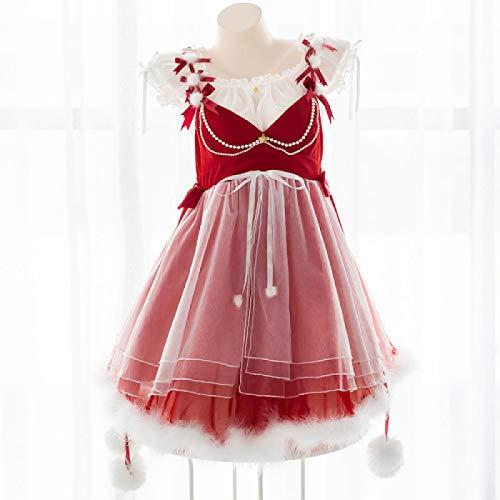 LXLXCS Japanese Soft Girl Christmas Lingerie Set Kawaii Girl Cute Word Collar Suspender Skirt Hollow Fat Underwear Set…
