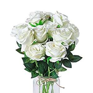 DuHouse 10pcs Silk Roses Artificial Flowers Fake for Arrangement Wedding Party Home Decoration (Off-White Long Stem)