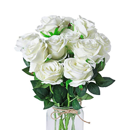 DuHouse 10pcs Silk Roses Artificial Flowers Fake for Arrangement Wedding Party Home Decoration (White Long Stem)