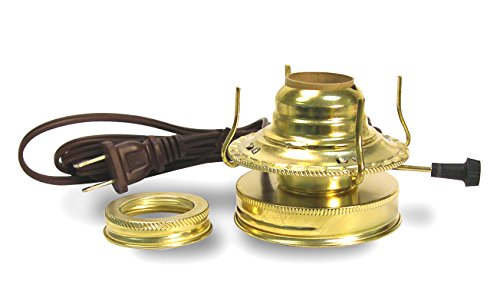 Electrified Oil Lamp Burner with Mason or Canning Jar Lid ()
