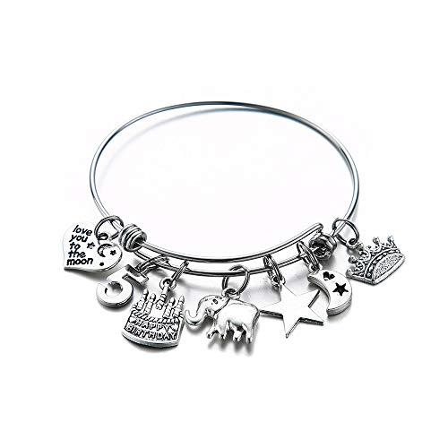 Birthday Gifts for Women Girls Bracelet, Expandable Charm Bracelets 5th 6th 7th 8th 9th 10th 20th 30th 40th 50th 60th 70th 80th 90th Birthday Gift for Friend, Mom, Daughter, Niece, Sister, Grandma