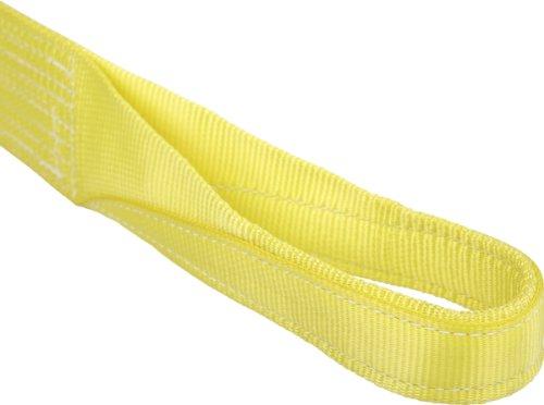Mazzella EE2-901 Nylon Web Sling, Eye-and-Eye, Yellow, 2 Ply, 10' Length, 1