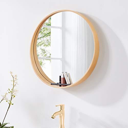 Round Wooden Bathroom Wall Mirror, Modern Vanity Makeup Mirror with Storage, Decorative -