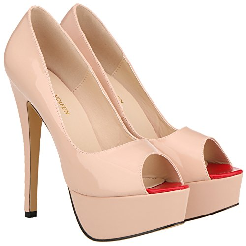 Loslandifen Kvinna Elegant Peep Toe Patent Pu Läder Plattform Stilett Hög Klack Skor Naken