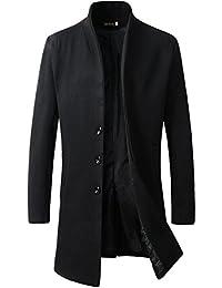 Men's Wool Slim Fit Long Jacket Business Coat