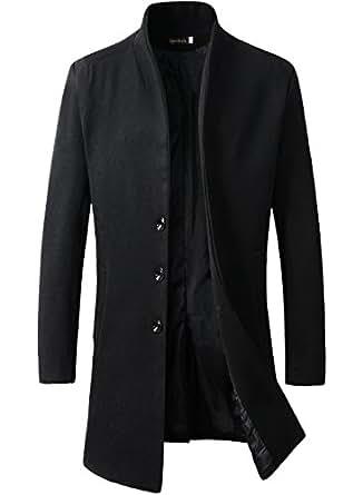 Men's Trench Coat Winter Long Jacket Button Closer Overcoat (XS, Black)