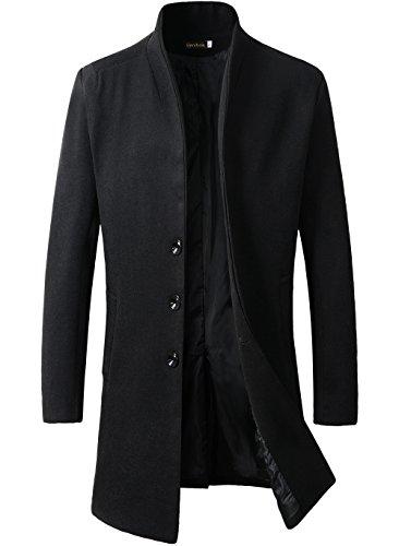 Benibos Men's Trench Coat Winter Long Jacket Button Closer Overcoat (XL, Black)