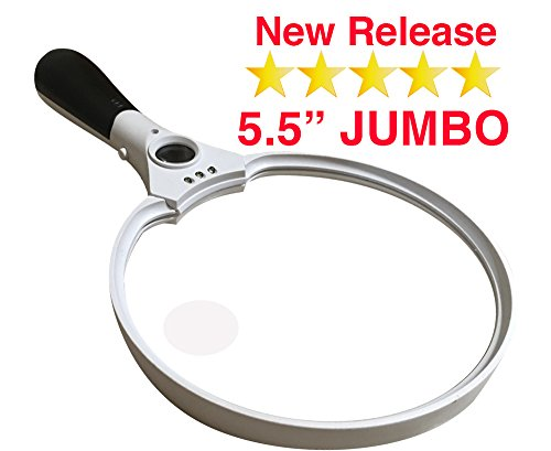 OpticSharp 5.5-Inch Handheld Magnifying Glass with LED Light, 2X, 4X and 10X Zoom, White