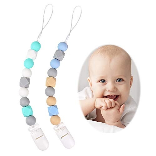 Pacifier Soothie Teether - TYRY.HU Silicone Pacifier Clips(2 Pack), Modern Binky Holder Chains with Teething Beads for Boys Girls Baby Shower Gift, Universal Fit MAM, Philips Avent Soothie Pacifiers, Teether Toys(Blue,Green)