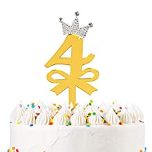LILIPARTY 4th Birthday Cake Topper Number 4 Sparkly Rhinestones Crown Acrylic Gold Glitter Cake Topper for Birthday Anniversary Decoration Supplies