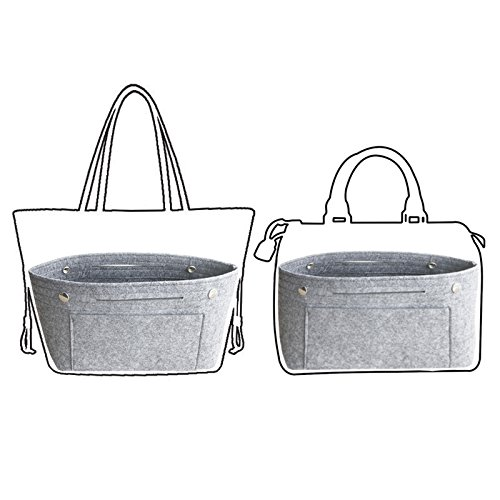 APSOONSELL Felt Tote Handbag Organizer Insert for Women, Light Grey - Large by APSOONSELL (Image #4)
