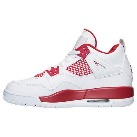 Nike Air Jordan Männer 4 Retro Basketballschuh Weiß / Rot / Schwarz