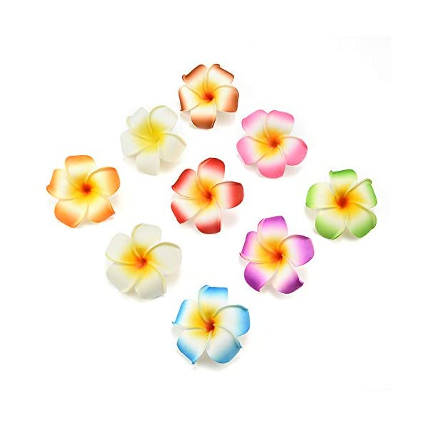 fake flowers heads Plumeria Hair Clip Hawaiian PE Foam Frangipani Artificial Flower for Wedding Party Decoration Fake Egg Flower Bouquets 20pcs 7cm (Orange)