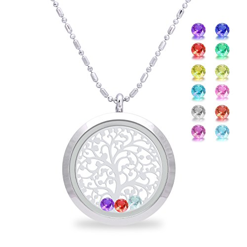 Family Tree of life Screw Floating Charm Living Memory Locket Pendant Necklace, Mom birthday gifts, mother gifts from daughter, christmas day gifts for mom, friendship, sweetheart (Mothers Birthstone Heart Charm Pendant)