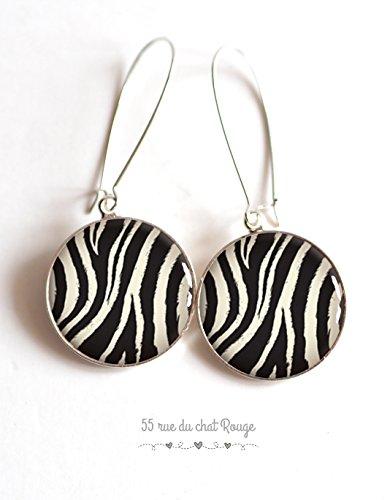 Earrings, cabochon epoxy resin, Zebra, wild animals, safari, beast skin, zebra, earrings