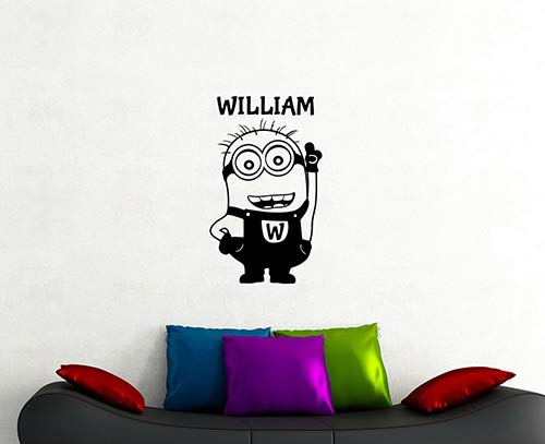 Minion Custom Name Wall Decal Comedy Film Cartoon Characters Personalized Vinyl Sticker Home Interior Decorations Art Nursery Boys Children's Room Decor 4ms -