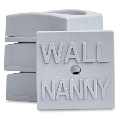 Wall Nanny Mini (4 Pack - Made in USA) Smallest Low-Profile Wall Protector for Baby Gates - Perfect in Doorways - Best Saver Cups Guard Trim & Paint for Child Dog Pet & Safety Pressure Gate (Gray)