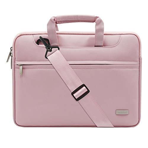 MOSISO Laptop Shoulder Bag Compatible 13-13.3 Inch MacBook Pro, MacBook Air, Notebook, Polyester Briefcase Handbag Sleeve Case Cover with Back Belt for Trolly Case, Pink