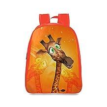 Farmost Funny Cartoon Giraffe Backpack Red School Bags Travel Bag Large