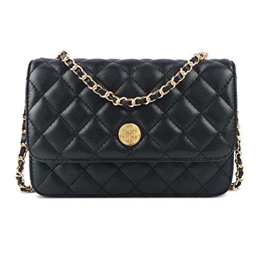Wallet on Chain,i5 Women Chic Cross body Shoulder Bag Quilted Multi-Pocket Purse Gold Chain Hobo Bag for Girls(black) (Handbags Black Quilted)