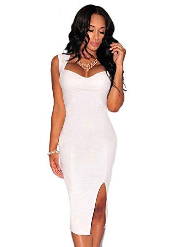 Nuevas señoras blanco aspecto mojado clave agujero espalda Bodycon vestido Casual Club wear Evening fiesta desgaste tamaño L UK 12EU40