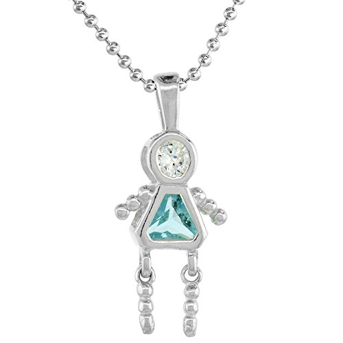 Sterling Silver Birthstone Necklace Aquamarine