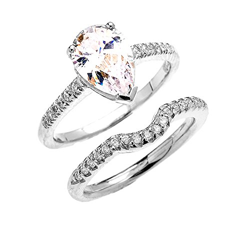 10k White Gold Dainty Diamond Wedding Ring Set with Pear Shape Cubic Zirconia Center Stone (Size 5) (Pear Diamond Wedding Ring)