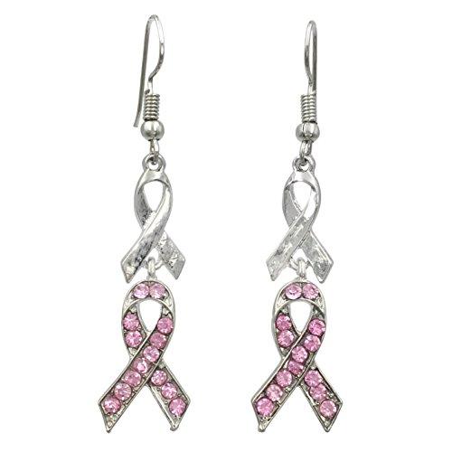 Pink Ribbon Rhinestones Breast Cancer Awareness Double Drop Dangle Earrings (Silver Tone)