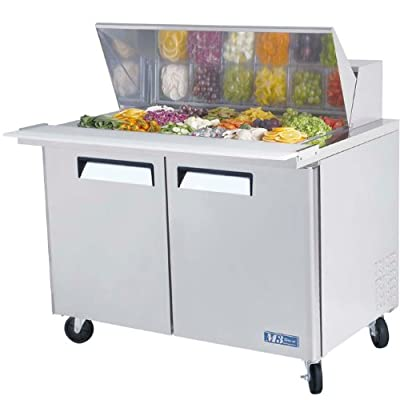 Turbo Air MST-48-18 Refrigerated Prep Table, 18 Pan, Two Door, 15 cu ft