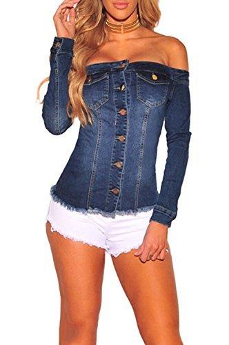 Women Sexy Off Shoulder Long Sleeve Pockets Button Down Denim Jacket Dark Blue M