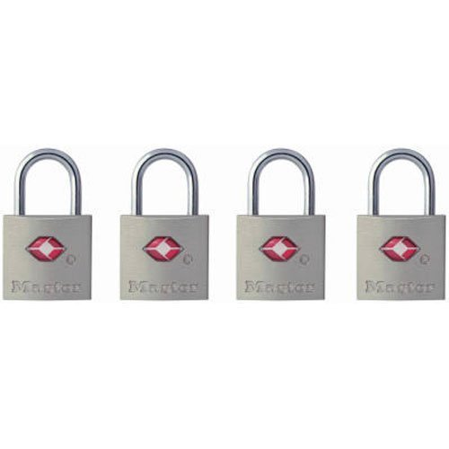 3 x Master Lock 4683Q TSA-Approved Nickel Keyed Alike Luggage/Baggage Lock, 4-Pack, colors may vary by Master Lock