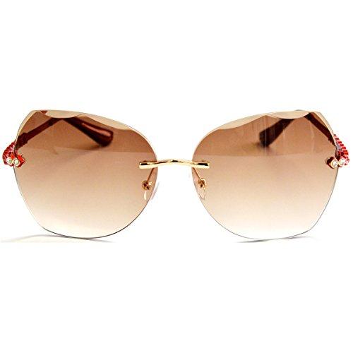mujer Arm borde gafas Lens Tan solares Para VOLCHIEN Red diamante sin wPvUqxtY