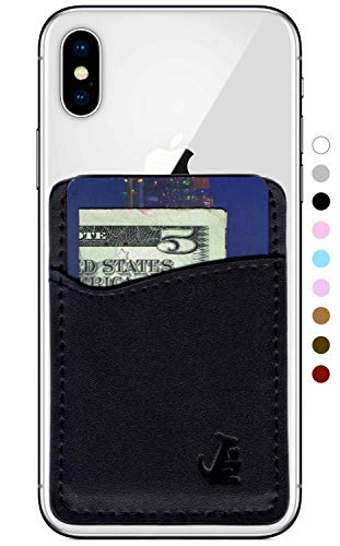 (Premium Leather Phone Card Holder Stick On Wallet for iPhone and Android Smartphones Kangaroo (Black Leather) by Wallaroo)