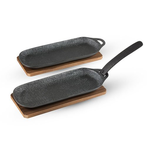 CAST IRON GRILL PAN WITH WOODEN BASE SET OF 2