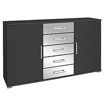 Kommode Grau Metallic Anrichte Schrank Sideboard Schubladenkommode