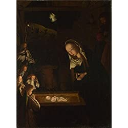 The High Quality Polyster Canvas Of Oil Painting 'Geertgen Tot Sint Jans - The Nativity At Night,about 1490' ,size: 8x11 Inch / 20x27 Cm ,this High Quality Art Decorative Prints On Canvas Is Fit For Home Office Decoration And Home Artwork And Gifts