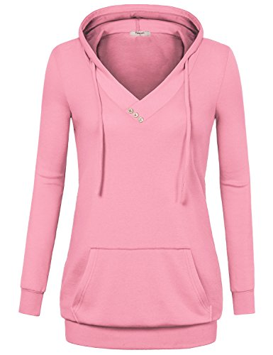 Women, Vintage Lined Long Sleeve V Neck Pullover Tunic Hoodie With Kangaroo Pocket Pink XXL (Lined V-neck Tunic)