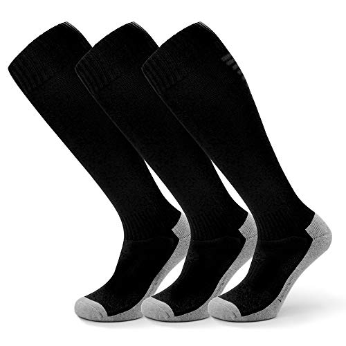 - Petrala Black Soccer Socks Kids Cushioned Cotton Sports for Youth Childrens 7-12