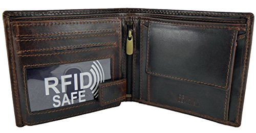 Note Pocket RFID With Slots Brown Sections and Quality Mens 4 Card Coin Brown 2 Leather Wallet wqEEzOH