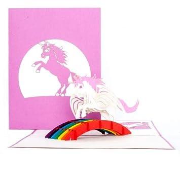 Pop Up Karte Einhorn Unicorn Zum Geburtstag Einhorn