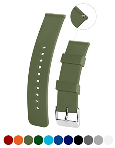 [Silicone Watchband Strap,Quick Release,Soft Rubber Surface with Textured Non-slip Back, Waterproof & Washable, Army Green 22mm] (Quick Release Slip)