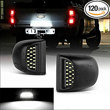 white 2Pcs LED License Plate Light Car Number Lamp Assembly Replacement For Chevy Silverado Suburban Tahoe GMC Sierra 1500 2500 3500 Cadillac Escalade 6000k White LED Lights