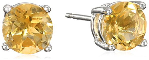 Sterling Silver Genuine Citrine Round November Birthstone Stud Earrings