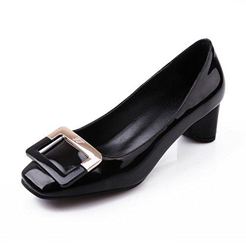 Amoonyfashion Womens Kitten Hakken Solid Pull Op Lakleder Vierkante Gesloten Teen Pumps-schoenen Zwart