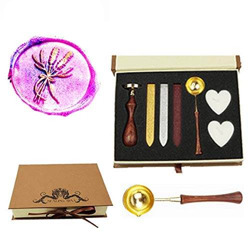 Wooden Spoons Decorating (MNYR Wreath Lavender Ginkgo Leaf Botanical Nature Wax Seal Stamp Kit Wooden Handle Spoon Candle Gift Box Set for Decorating Gift Packing, Envelopes, Parcels, Cards, Letetrs, Wedding Invitations Seal)