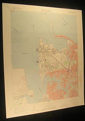 Norfolk North Virginia US Naval Res. 1974 vintage USGS original Topo chart map