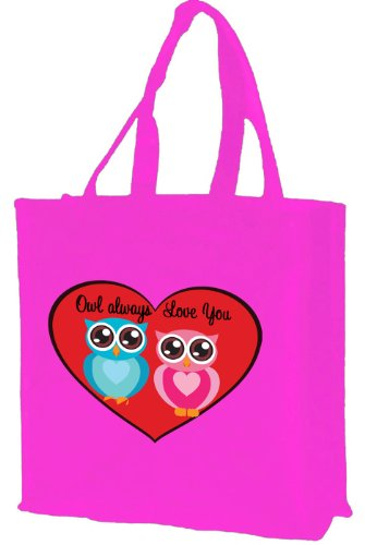 OWL always Love you Cotton shopping bag, rosa