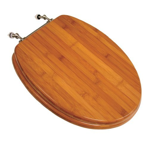Comfort Seats C1B2E2-20BN Wood Elongated Toilet Seat with Brushed Nickel Hinges, Rattan Bamboo by Comfort Seats